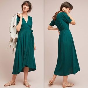 Anthropologie Maeve Breanna Green Midi Wrap Dress